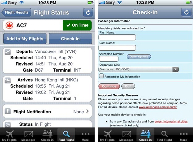 Dedicated iPhone App Released by Air Canada