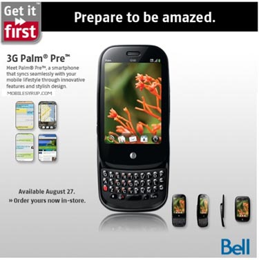 bellpre Palm Pre Arrives at Bell Mobility on August 27th
