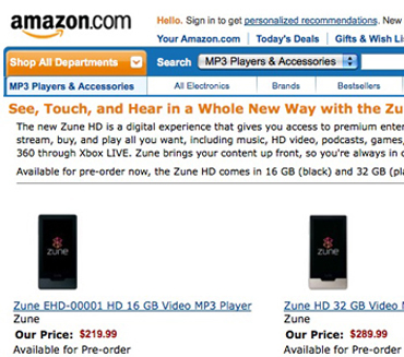 Zune HD Pricing Confirmed by Amazon and Best Buy