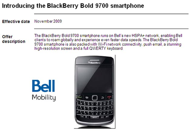 HSPA Launch List for Bell Mobility Revealed