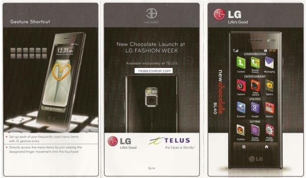 teluschoc Telus Prepares to Launch New LG Chocolate BL40