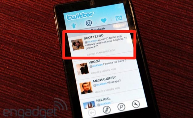 zunetwitter Twitter App for Zune HD Censors Potty Mouths