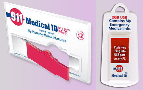 911-medical USB Medical cards carry vital data on your person securely