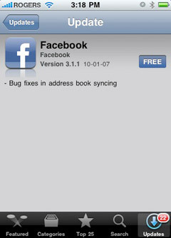 facebook-iphone Facebook App for iPhone gets 3.1 update, Push support, more problems?