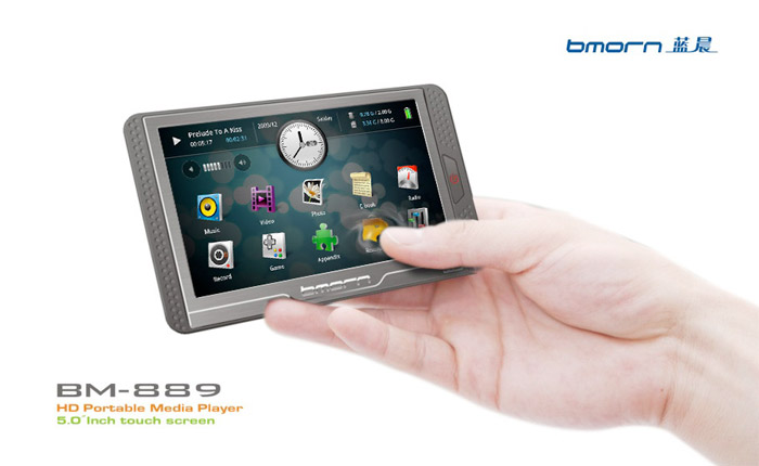 bmorn-889-01 Bmorn BM-889 is a 5-inch PMP with 'Human Magnetic Sense Touch'  display