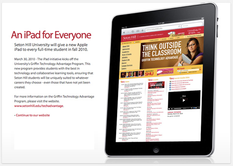 setonhill-ipad  Apple iPad given to every Seton Hill University student