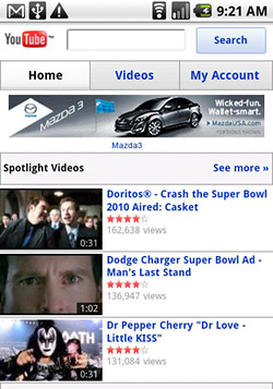 youtubemobile Mobile YouTube now showing banner advertisements