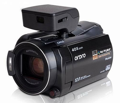 ordro-hd-pico-projector-camcorder View home videos on your wall with Ordos' HD camcorder