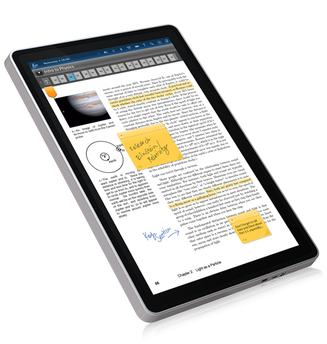 Kno-single-screen-textbook-with-stickies-and-notes Kno adds single screen 14-inch tablet textbook for students