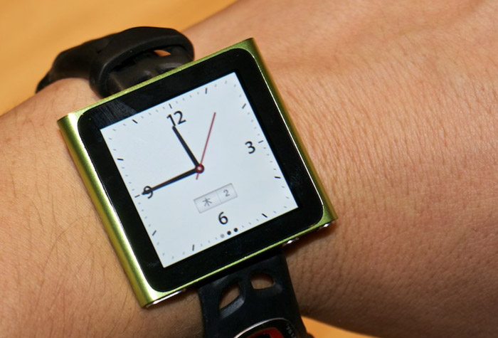nano-watch Flickr user adds strap to iPod nano touchscreen: The iWatch is born