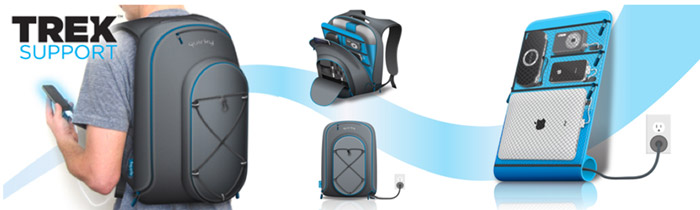 trek-support The geeky backpack by Quirky with built-in battery and charger