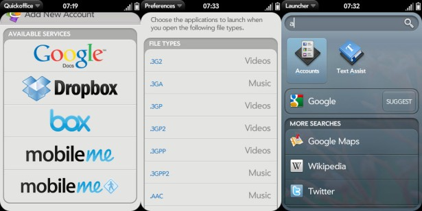 webOS20shots  Filetype handling outlined in new webOS screenshots