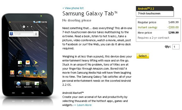 Sprint-Samsung-Galaxy-Tab-Price  Samsung Galaxy Tab drops to $299 on contract with Sprint