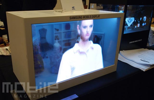 samsung-amoled-19inch-1 At CES with the Samsung 19-inch AMOLED prototype showing 30% transparency
