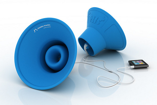 tembo-trunks1  Tembo Trunks Collapsible Silicone Speaker Cones Amp Up Your iPod