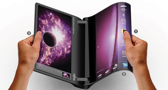 real-notebook  Fujitsu laptop concept features screen that bends like real paper