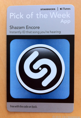 "starbucks-shazam-app Coming soon to Starbucks: Free iOS ""App of the Week"" cards"