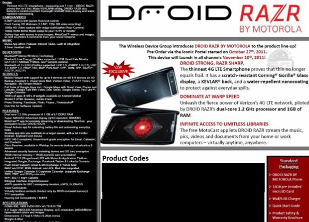 111101-razr Motorola Droid RAZR Is First Googorola Device: Nov.10 On Verizon