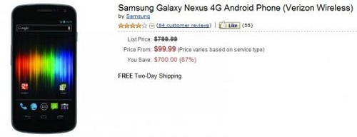 galaxy-nexus-amazon Verizon Galaxy Nexus Now Available At Amazon For $100