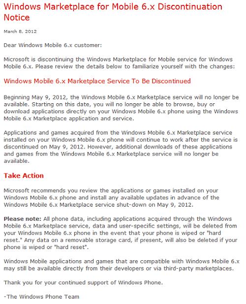 windows-mobile-marketplace-shutdown Microsoft Windows Mobile Marketplace To Be Shutdown On May 9