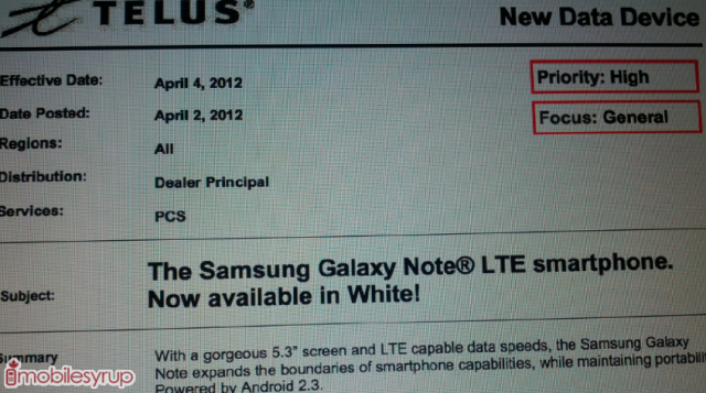 telus-white-galaxy-note White Samsung Galaxy Note To Be Launched On Telus Today, Bell On April 10th?
