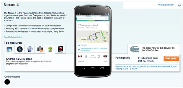 nexus-4-carphone Carphone Warehouse Puts Up LG Nexus 4 Preorder Page Early