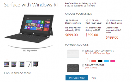 surface-preorder Microsoft Surface 32GB Base-Model Already Sold First Batch of Shipments?