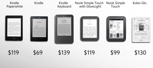 121122-ereader1 eReader Shootout: Amazon Kindles vs. Barnes & Noble Nooks vs. Kobo Glo