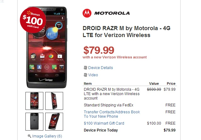 droid-razr-m $100 Walmart Gift Card with New Nokia Lumia 920 and Other Qualifying Phones