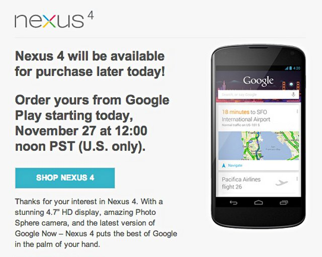nexus4 LG Nexus 4 Back at Google Play in the US, Today at Noon [Update: Still here]