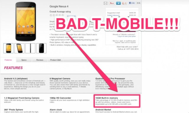 tmobile-very-bad-640x384 In T-Mobile's Fantasy World the LG Nexus 4 has microSD, unfortunately reality says otherwise
