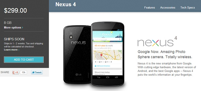 n4stock LG Nexus 4 Back in Stock at Google Play Once More