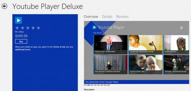 youtube-player-deluxe-640x305 Youtube Player Deluxe Listed as $999.99 at Windows Store