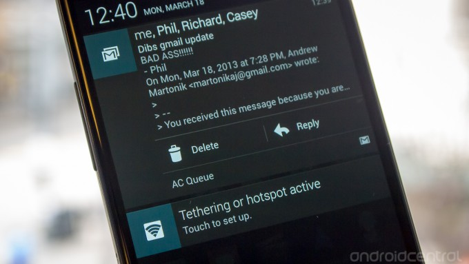 gmail update actionable notifications