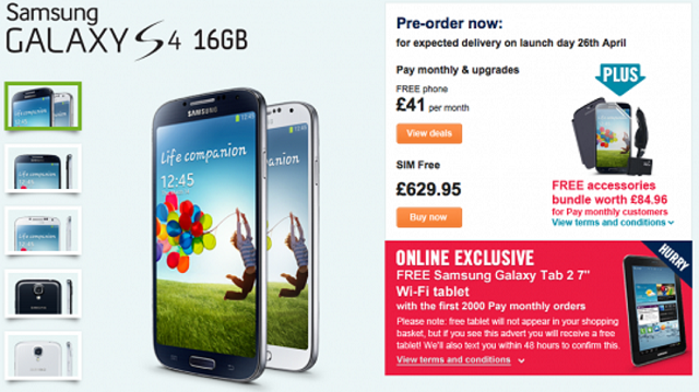 s4-carphone-warehouse Samsung Galaxy S4 Pre-Order With Free Tab 7 And More