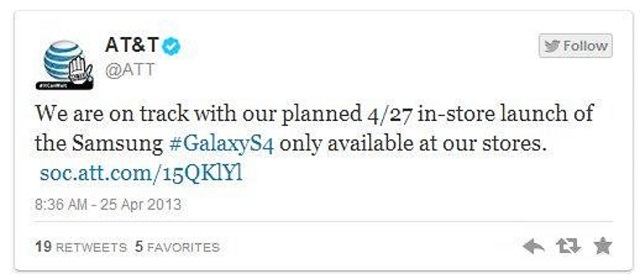 att-twitter-s4 AT&T Will Not Delay Galaxy S4 Release Unlike Others