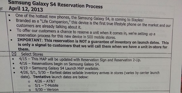 galaxy-s4-availability Samsung Galaxy S4 US Release Date Update
