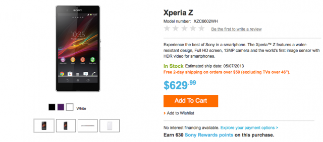 Sony-Xperia-Z-US Sony Xperia Z Now Available In The US