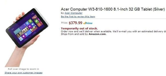 acer-tab Amazon Leaks New Details About Windows-Powered 8.1-inch Acer Tablet