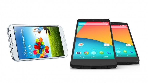 131101-sgs4nexus Google Nexus 5 vs. Samsung Galaxy S4: Spec and Feature Shootout
